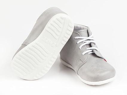 Emel Hechos a mano infantil de primeros pasos–Zapatos de piel hechos a mano en la UE, color gris Talla:18 EU