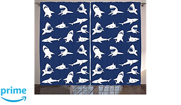Amazon.com: Ambesonne Shark Curtains, Shark Pattern with Various Gestures Have A Bite Danger Humor Nautical Design, Living Room Bedroom Window Drapes 2 ...