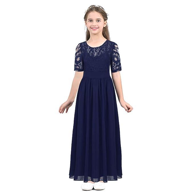 Alvivi Vestido Blanco de Princesa Fiestas Boda para Niñas Vestidos Elegantes Largo Encaje de Noche Flor