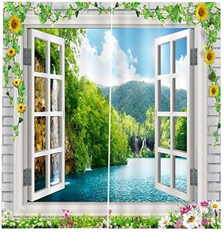 QinKingstore 窓グリル150 * 166カーテン花の花印刷ドア窓カーテン家の装飾寝室リビングルーム