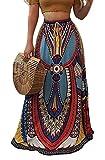 Macondoo Womens Africa Folk Tribal Printed Casual Dashiki Swing Maxi Skirts Blue M