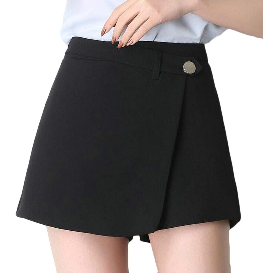 Domple Womens High Rise Business OL Work Solid Loose Skirt Shorts Black US S