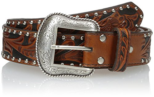 Embossed Studded Belt - Nocona Men's Black Hide Window Inlay, Black/Tan, 40