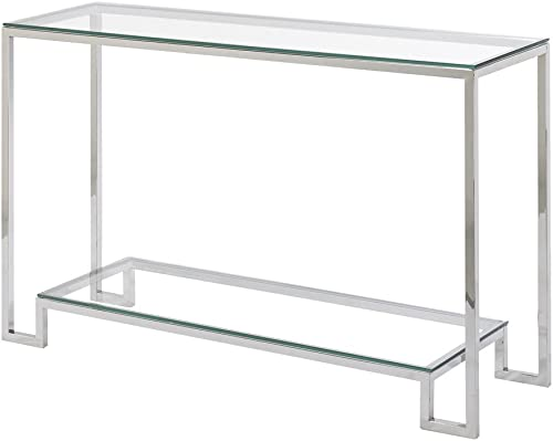 Uptown Club Jackson Collection Steel Glass Console Table