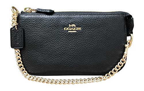Coach Pebbled Leather Large Wristlet 19, Black by Coach