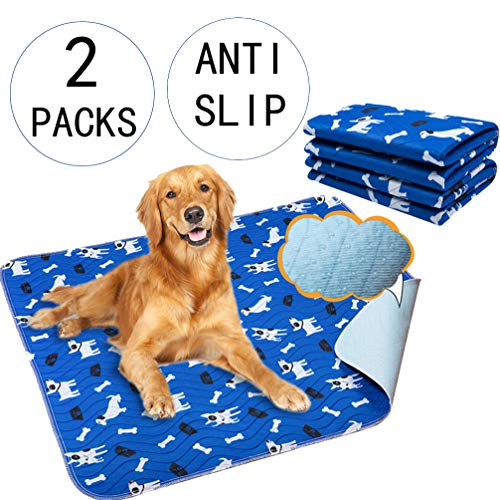Yangbaga Washable Pee Pads for Dogs, 2 Packs Non Slip Puppy Pads, 32x36in Extra Thick Whelping Pads with Great Urine Absorption, Odor Control Training Pads