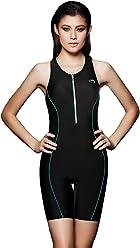 PHNIKISS Women Athletic Laser Swimsuits Long Leg Swimwear