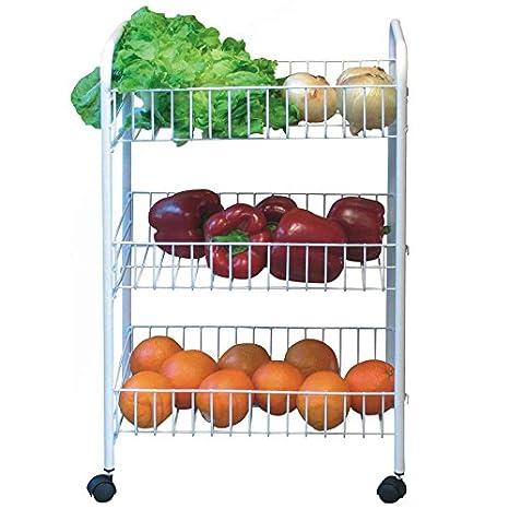 BARGAINS-GALORE 3 Tier Carrito de Cocina Vegetal Fruta de Almacenamiento Blanco Carro Soporte Rueda: Amazon.es: Hogar