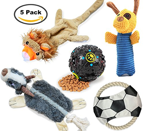 Dog Toys 5 Set 丨 Loobani Plush Squeaky Toy Stuffed, Durable Knot Chew Toys, Cotton Rope Frisbee, Dispenses Treat Ball Assortment for Small and Medium Dog