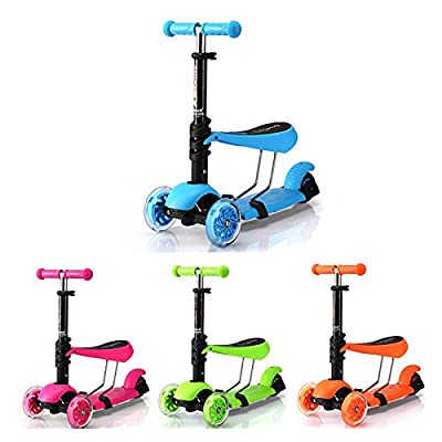 Jumphigh Baby Kids Sit Scooter 3-in-1 Kick Scooter with Removable Seat For 2-7 Years Old Children