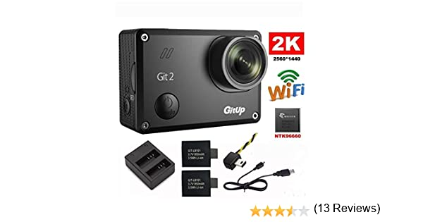 Riyc GitUp Git2 2 K 30fps Novatek 96660 1080P 60fps Full HD WiFi cámara al Aire Libre Impermeable Apoyo G-Sensor (with Extra 2 Battery+FPV+Charger): Amazon.es: Deportes y aire libre