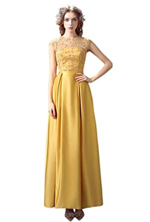Drasawee Womens Backless Evening Dresses Beading Bridal Formal Gowns Gold - Gold -