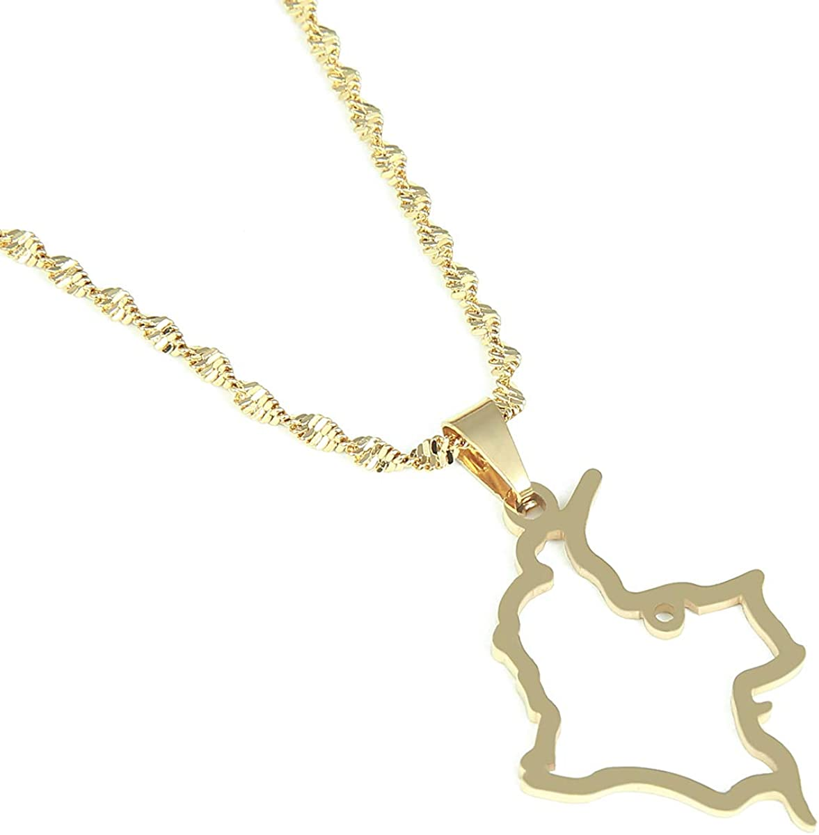 SWAOOS Stainless Steel Colombia Map Pendant Necklace Fashion Map of Colombian Chain Jewelry