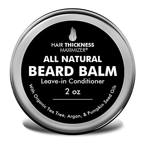 Best Beard Balm for Men by Hair Thickness Maximizer. All Natural Unscented Beard Softener Cream/Leave in Conditioner. for Styling, Growth - with Argan Oil and More! for That Fresh, Honest Look (2oz)