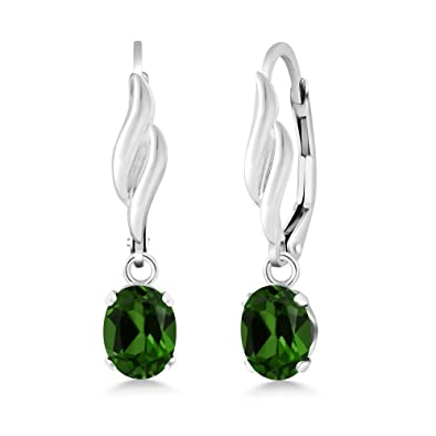 92895eb43 Image Unavailable. Image not available for. Color: 1.60 Ct Oval Green  Chrome Diopside Gemstone 925 Sterling Silver Earrings