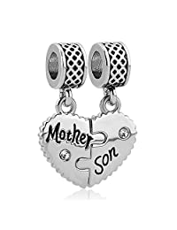 Charmed Craft Puzzle Heart Mother Son Charm For Bracelets 2 Pcs