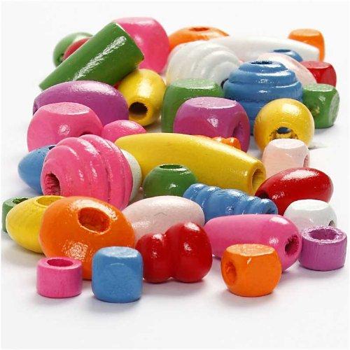 (Wood Beads, 5-28 mm, asstd colors, 200 g, 400 ml )