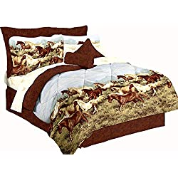 "Majestic Running SHOW HORSES & PONIES Brown 6pc Comforter(66""x 86"") Set w/Sheets (Twin/Single Size (Bed In A Bag Set))"