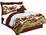 Majestic Running SHOW HORSES & PONIES Brown 6pc Comforter(66''x 86'') Set w/Sheets (Twin/Single Size (Bed In A Bag Set))