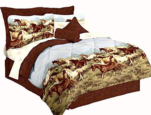 Majestic Running SHOW HORSES & PONIES Brown 6pc Comforter(66