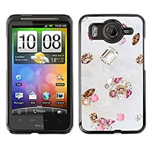FlareStar Colour Printing Gem Diamond Stone Bling Gold Pink cáscara Funda Case Caso de plástico para HTC Desire HD / inspire 4G / G10