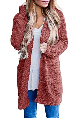 ZESICA Women's Casual Long Sleeve Open Front Soft Chunky Knit Sweater Cardigan Outerwear with Pockets