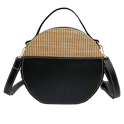 - ShouJiao Round Straw Bags Women Summer Rattan Bag Hand Made Woven Beach Cross Body Bag Circle Bohemia Handbag BK