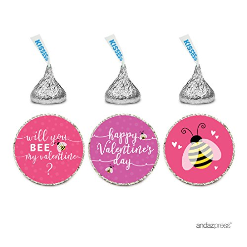 Andaz Press Chocolate Drop Labels Trio, Fits Hershey's Kisses Party Favors, Happy Valentine's Day Will You Bee My Valentine? Bumblebee Graphic, 216-Pack, Envelope Seals Stickers ()