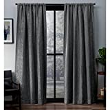 Exclusive Home Crosshatch Chenille Window Curtain Panel Pair with Rod Pocket, 52×96, Soft Grey, 2 Piece