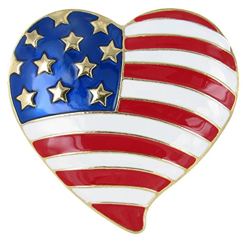 Independence Day American Flag Balloon Heart Brooch Pin with Red, White, and Royal Blue Enamel
