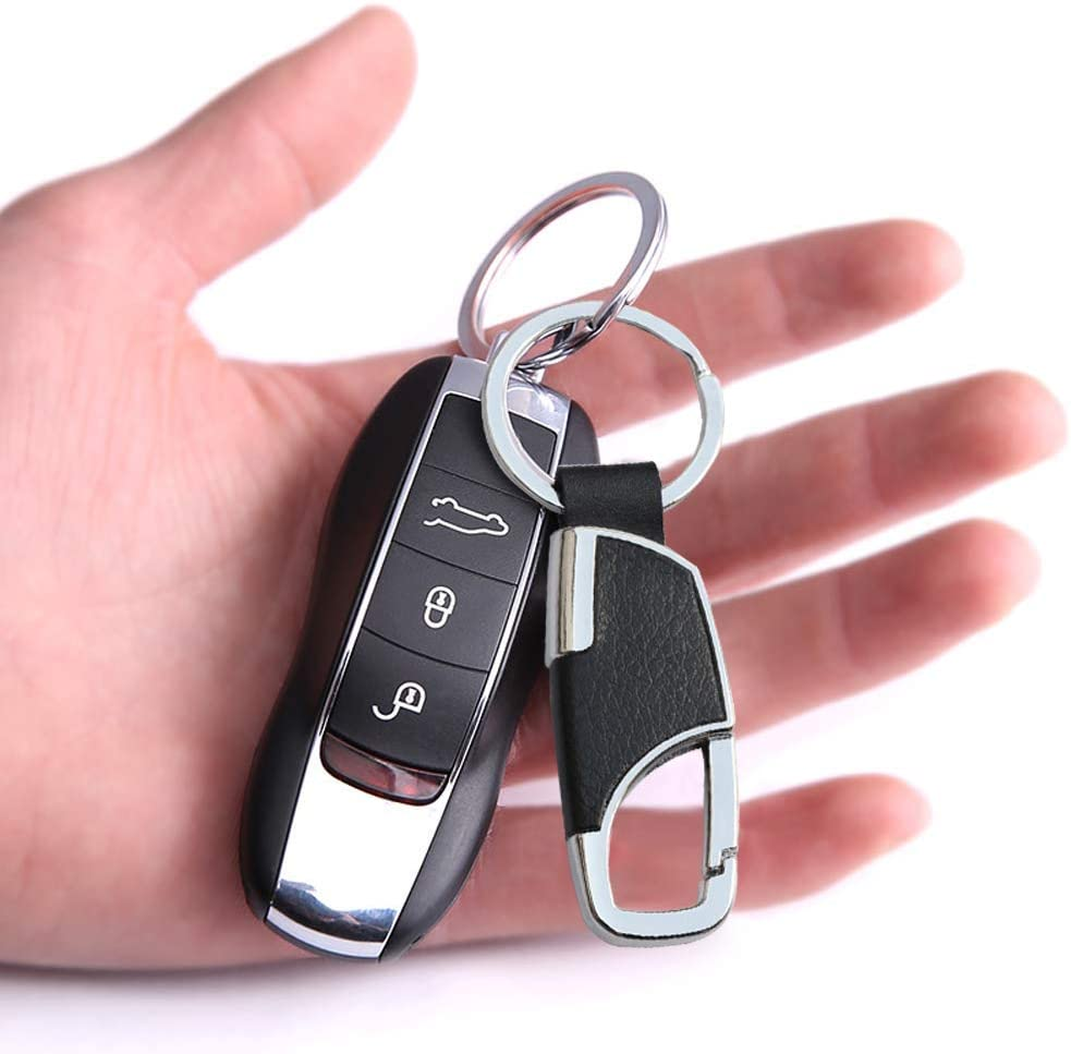 Key Chain 2 PCS Metal Car Key Chain Clip Detachable Leather Keychain with Key Ring Holder for Men Women