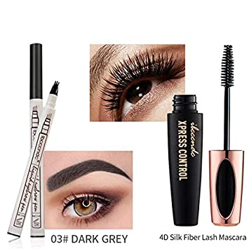 d4b48714106 Amazon.com : 4D Silk Fiber Lash Mascara Waterproof Mascara 3D Eyelash Thick  Lengthening Eye Lashes Eyebrow Tattoo Pen 03 : Beauty