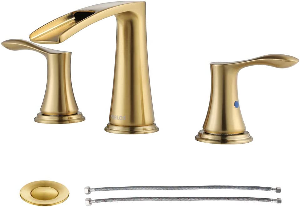 PARLOS Waterfall Widespread Bathroom Faucet Double Handles with Metal Pop Up Drain & cUPC Faucet Supply Lines, Brushed Gold, Demeter 1431808