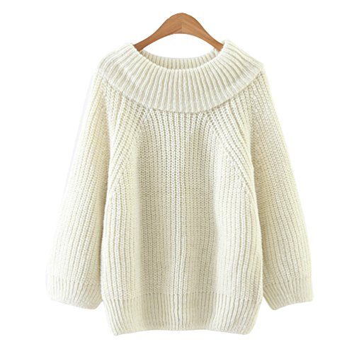 Tricot Col Rond Casual Tops Chandail Sweater Pull Pull Manches Beige Femmes CHENGYANG Longues Xzfanq