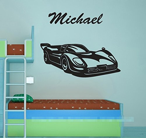 Cool Personalised Name Boy Bedroom Wall Stickers Race Car Black Wall Decals Kirds Room Nursery Wall Art Decor-You select (Cool Race Car Names)