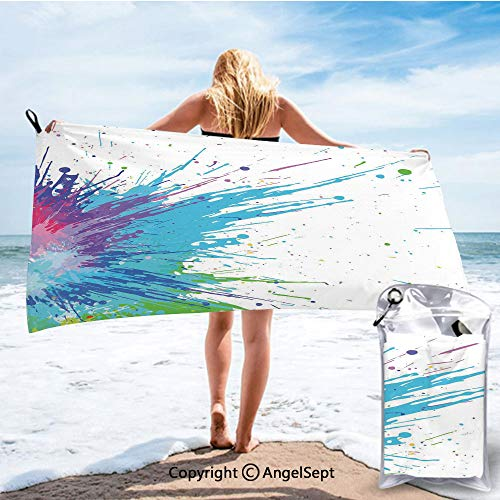 RWNHome Towel Fashion Beach Towels for Travel - Quick Dry,Grunge Inspired Splashes of Various Colored Paints with a Tainted White Backdrop White Aqua,27.5