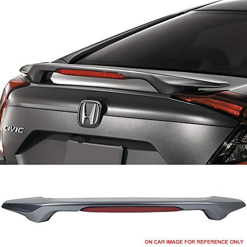 Pre-painted Trunk Spoiler Fits 2016-2018 Honda Civic | Factory Style ABS Lunar Silver Metallic #NH19830M With LED Brake Light Boot Lip Rear Spoiler Wing Other Color Available By IKON MOTORSPORTS