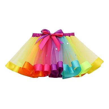 sito affidabile d0463 3e138 Topgrowth Gonna Tulle Bambina Ragazze Tutu Festa Danza Balletto Abito  Arcobaleno Gonna Costume