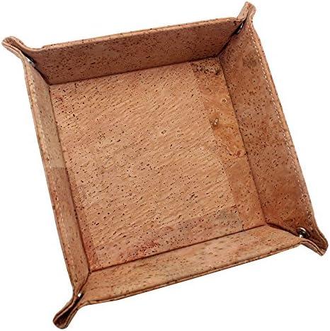 Boshiho en li/ège Bijoux Catchall Touche pi/èce de monnaie Bo/îte EDC Valet Tray changent Caddy de chevet Bo/îte de rangement Cadeau respectueux de lenvironnement peau 8.3 x 8.3 x 0.2 inch