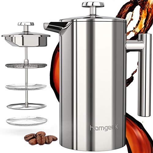 homgeek Cafetera de embolo de 1 L/8 Tazas, Cafetera Francesa con 3 Horas de Preservacion del Calor, de Acero Inoxidable de 304, Cafetera y Tetera para el Hogar y la Oficina, Plata