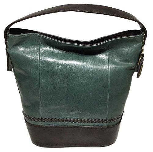 Tignanello Classic Boho Vintage Leather Bucket Bag, Juniper/Brown (Brown Leather Tignanello)