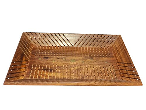 (IndiaBigShop Hand Carved Wooden Breakfast Serving Tray for Tea Snack Dessert Kitchen Dining Serve-ware Accessories 15 X 10)
