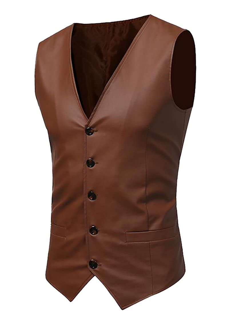 LD Mens PU Leather Single Breasted Slim Fit Trucker Motor Vests