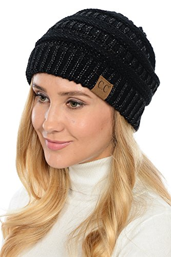 (Yourstyle USA Trendy Warm Chunky Soft Stretch Cable Knit Slouchy Beanie (One Size, Black/Metallic Silver) )