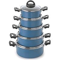 Jogo De Panelas Nacional 5 Peças Antiaderente Linha Color azul-turquesa