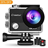 Crosstour 4K Action Camera 16MP WiFi Underwater Cam 30M Waterproof Case Sports Camera with Remote Control 2 Batteries and 19 Mounting Accessories