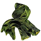 Shades of Deep Forest Green Hand Painted Arashi Shibori Silk Scarf