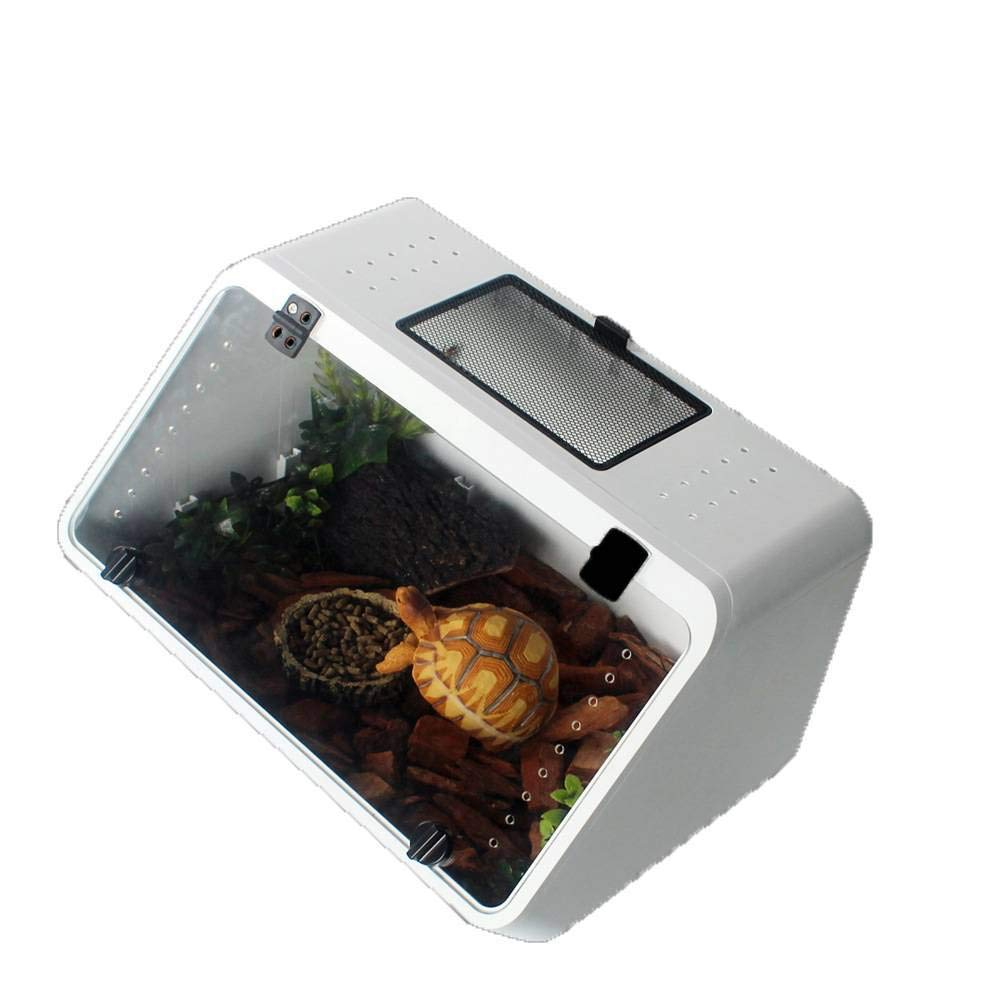 JBLDY Terra e Acqua L Anfibio Bisellato Box Tartaruga Serbatoio Tartaruga Brasiliana Tartaruga Tartaruga Criceto Gabbia Scorpione Lucertola Ragno Rettile Pet Terrario, Bianca, Taglia Unica