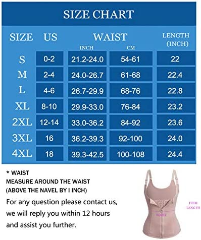 Nebility Women Waist Trainer Corset Zipper Vest Body Shaper Cincher Tank Top with Adjustable Straps