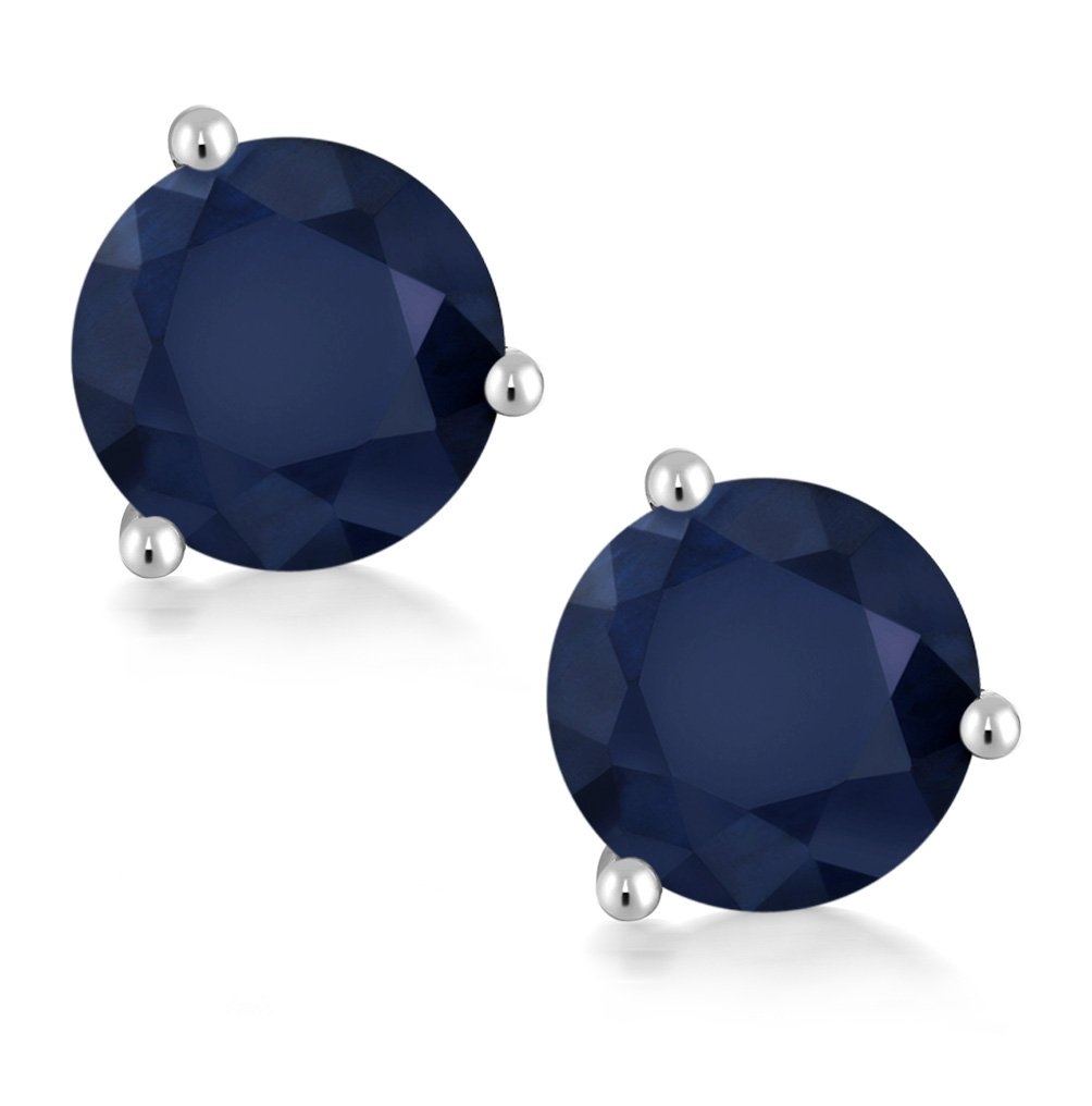 2.00 Ct Round 6mm Blue Sapphire 14K White Gold Martini Setting Stud Earrings by Gem Stone King (Image #2)